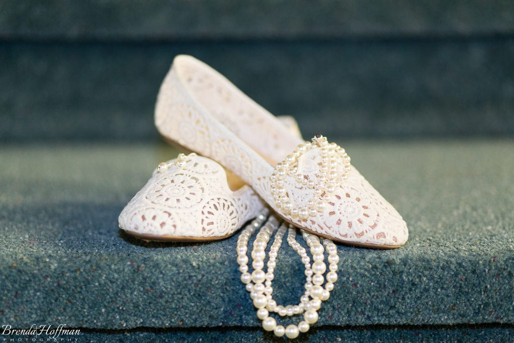 Grand Rapids Wedding Photographer lace wedding shoes pearl necklace