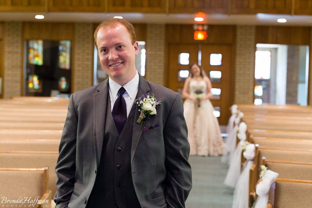 Grand Rapids Wedding Photographer bride and groom first see each other