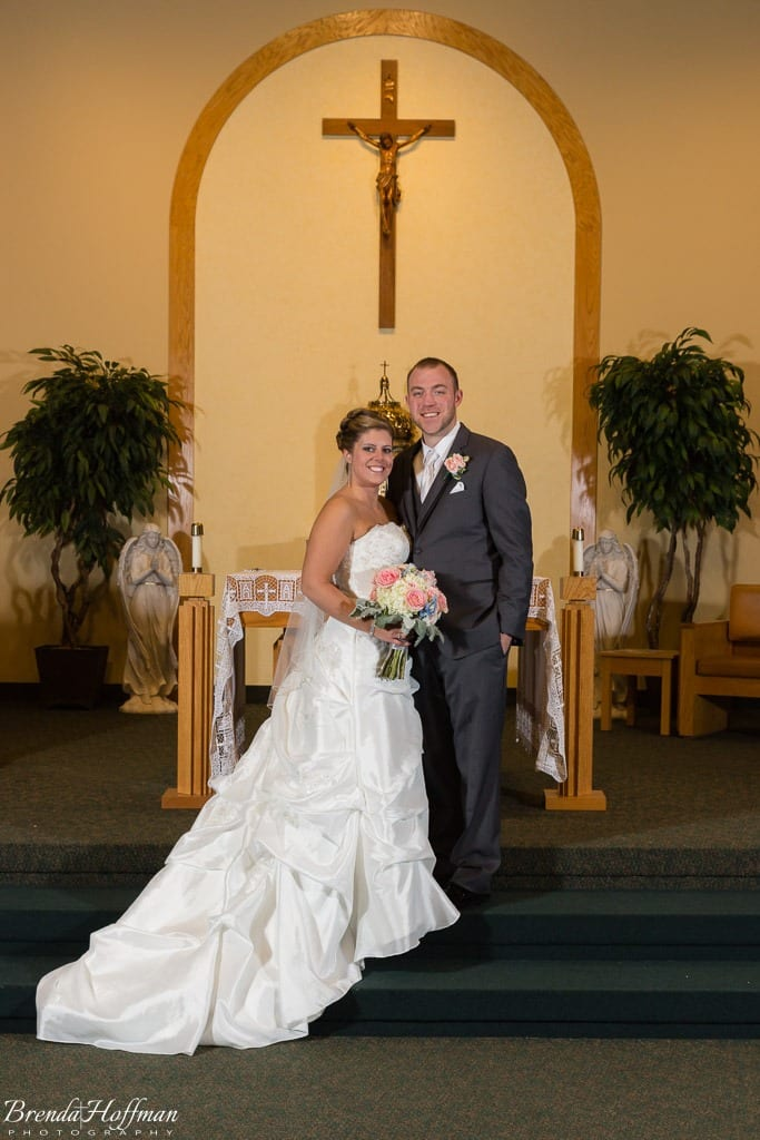 Grand Rapids Wedding Photographer St John Vianney bride and groom posed