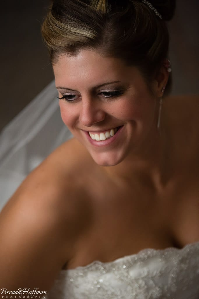 Grand Rapids Wedding Photographer St John Vianney bride posed with window light