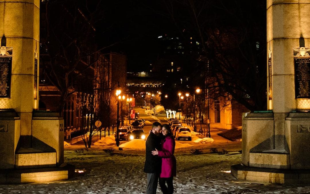 Night Engagement Photos with Sparklers | Grand Rapids Michigan
